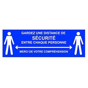 Panneau adhésif spécial sol Gardez une distance de sécurité entre chaque personne - 45 x 15 cm Bleu