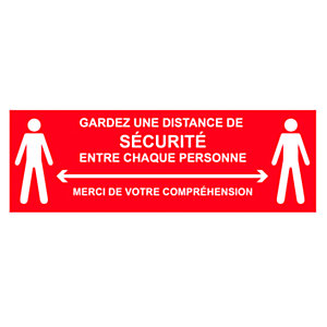 Panneau adhésif spécial sol Gardez une distance de sécurité entre chaque personne - 45 x 15 cm Rouge