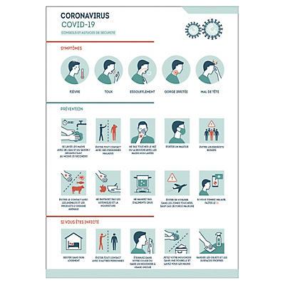 Panneau conseils de sécurité Coronavirus Covid-19