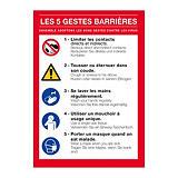 Panneau de consignes Les 5 gestes barrières