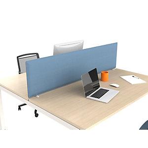 Panneau écran frontal acoustique Moody pour bureau bench - 400 x 1400 mm – tissu bleu, fixations blanches