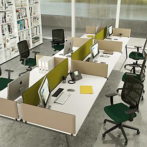 Panneau écran frontal acoustique Moody pour bureau bench - 400 x 1600 mm – tissu Gris, fixations blanches
