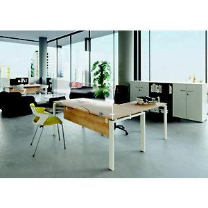 Panneau écran de protection avec encoche passe documents - Polycarbonate transparent - Modèle Solo - L.160 x H.62,5 cm  - Épaisseur 6 mm