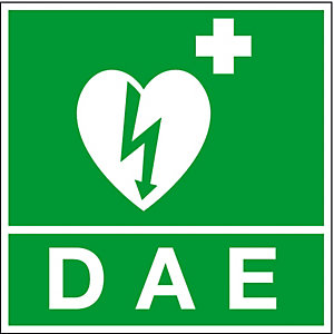 Panneau rigide de signalisation défibrillateur logo + D.A.E. 20 x 20 cm