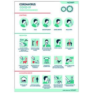 Panneau signalisation A4 polystyrène rigide Conseils de sécurité Coronavirus - 210 x 297 mm