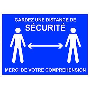 Panneau signalisation A4 polystyrène rigide Gardez une distance de sécurité - 210 x 297 mm - Bleu