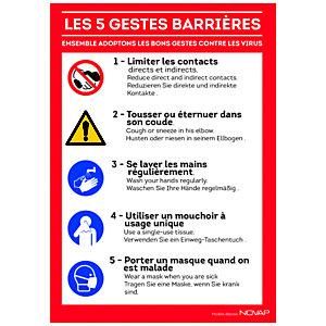 Panneau signalisation A4 vinyle adhésif Les 5 gestes barrières en 3 langues- 210 x 297 mm
