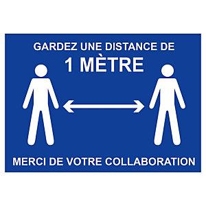 Panneau de signalisation gardez une distance de 1 m  format A4