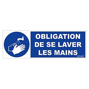 Panneau de signalisation obligation de laver les mains 45 x 15 cm