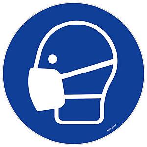 Panneau de signalisation souple adhésif port du masque obligatoire, diamètre 18 cm