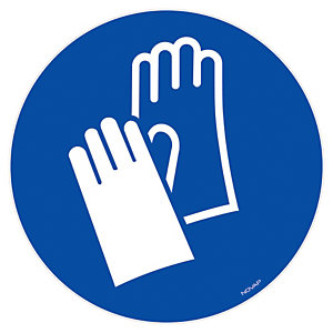 Panneau signalisation vinyle adhésif Gants de protection obligatoires - Ø 180 mm