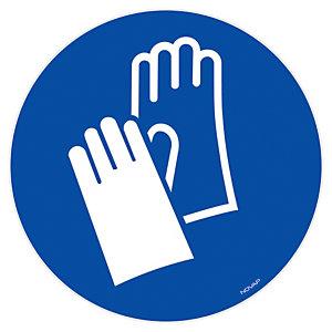 Panneau signalisation vinyle adhésif Gants de protection obligatoires - Ø 300 mm