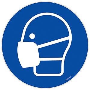 Panneau signalisation vinyle adhésif Masque obligatoire - Ø 180 mm