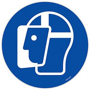 Panneau signalisation vinyle adhésif Visière de protection obligatoire - Ø 300 mm