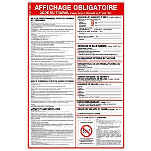 Panneau de signalisationde l'affichage obligatoire du code du travail 40 x 60 cm
