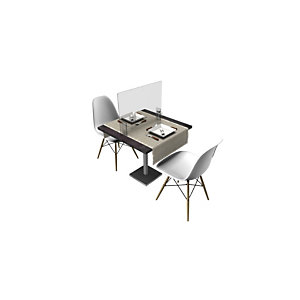 Pannello protettivo divisorio in plexiglass per tavoli ristoro, Trasparente
