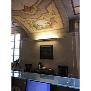 Pannello protettivo in plexiglass con staffe d'appoggio, 100 x 70 cm, Trasparente