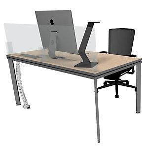Pannello protettivo in plexiglass per scrivania da 140 cm, Trasparente (composto da 2 pannelli da 68 x 64 cm da affiancare)