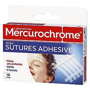 Pansements Strips sutures adhésives Mercurochrome, 2 boîtes de 16 pansements