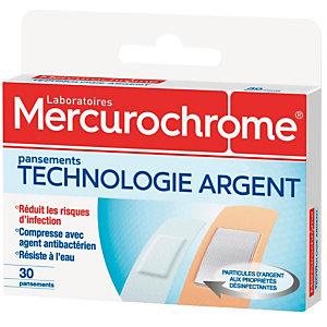 Pansements technologie argent Mercurochrome, 2 boîtes de 30 pansements