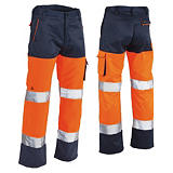 Pantaloni alta visibilità arancione/blu
