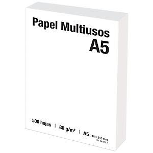 Papel Multifunción para Faxes, Fotocopiadoras, Impresoras Láser e Impresoras de Inyección de Tinta Blanco A5 80 g/m²