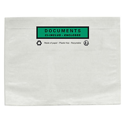 Paper document enclosed envelope labels, printed