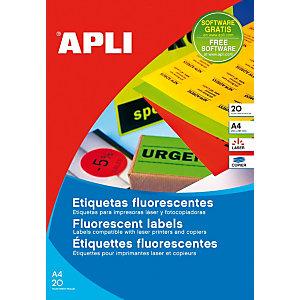 PAPER Etiquetas adhesivas, 64 x 33,9 mm, naranja fluorescente