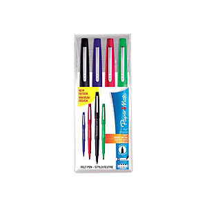 Paper Mate Flair Original Penna con punta in fibra, Punta media da 1 mm, Fusto in colori assortiti, Inchiostro in colori assortiti (confezione 4 pezzi)