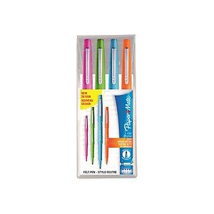 Paper Mate Flair Original Penna con punta in fibra, Punta media da 1 mm, Fusto in plastica in colori assortiti con grip, Inchiostro in colori assortiti