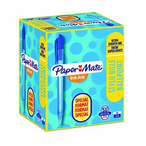 Paper Mate InkJoy 100 RT Pack Ahorro 80 + 20 GRATIS Bolígrafo retráctil de punta de bola, punta mediana de 1mm, cuerpo azul, tinta azul