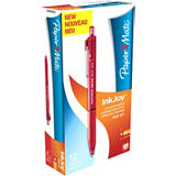 Paper Mate InkJoy 300 RT Bolígrafo retráctil de punta de bola, punta mediana de 1mm, cuerpo de plástico rojo con grip, tinta roja