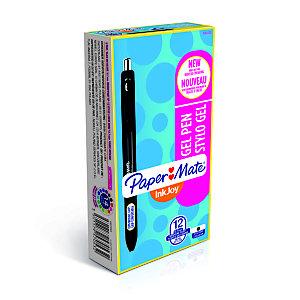 Paper Mate Penna gel a scatto InkJoy®, Punta media da 0,7 mm, Fusto nero traslucido con grip, Inchiostro nero