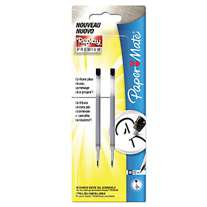 Paper Mate Replay Premium Refill per penna gel, Punta media 0,7 mm, Inchiostro nero (confezione 2 pezzi)