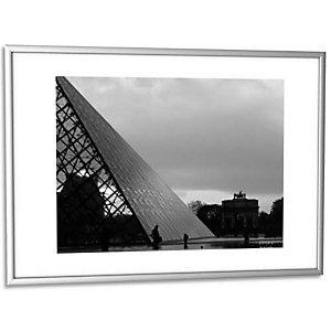 PAPERFLOW Cadre photo contour aluminium coloris Argent, plaque en plexiglas. Format 30 x 42 cm