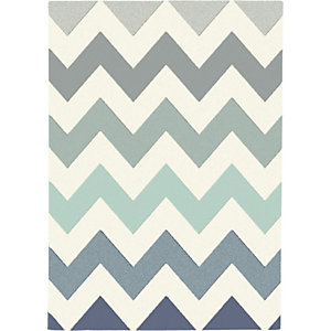 Paperflow Canvas, Alfombra decorativa para interior/exterior, 100% polipropileno, 120 x 170 cm, diseño zig-zag azul/turquesa/gris/beige