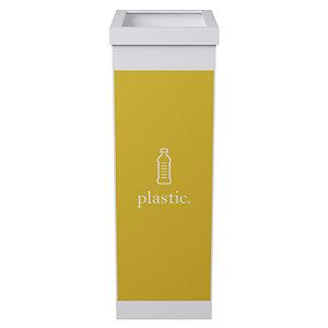 Paperflow Corbeille de tri sélectif pour le recyclage du plastique 60L - Jaune corps Blanc