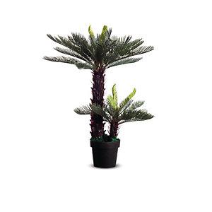 Paperflow Plante artificielle H.80 cm - Composition palmier Cycas - Pot rond noir