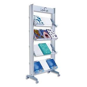 PAPERFLOW Présentoir mobile, 4 tablettes XL orientables. En alu et plexi. Dim. L72 x H167,8 x P38,5 cm