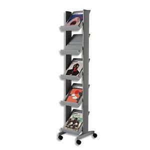 PAPERFLOW Présentoir Mobile Corner coloris Alu L 35 x H 167,5 x P 38,5 cm