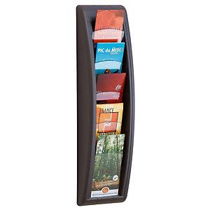 Paperflow Présentoir Quick Fit System - Mural - 5 cases 1/3 de A4 - Anthracite