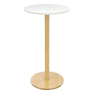Paperflow Table Mange Debout, diamètre 60 cm, plateau blanc, pied bois