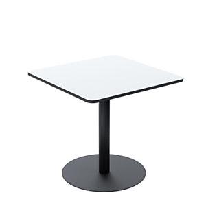 Paperflow Table de restauration carrée Mezzo plateau stratifié Blanc 80 x 80 cm - Pied central en acier Noir