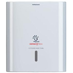 PAPERNET Dispenser antibatterico Linea Defend Tech per asciugamani piegati a C e a V, Bianco