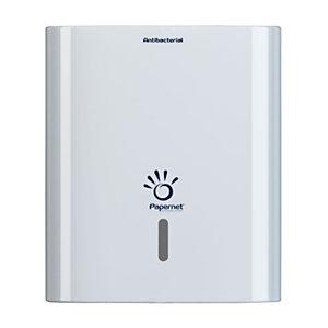 PAPERNET Dispenser antibatterico Linea Hy Tech per asciugamani piegati a C e a V, Bianco