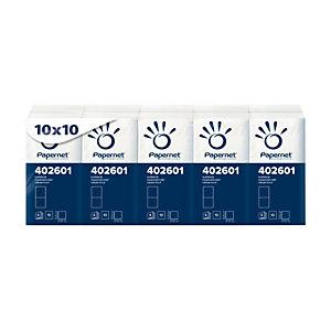 PAPERNET Fazzoletti, 4 veli, 10 fogli, 210 x 210 mm, Bianco (confezione 10 pacchetti)
