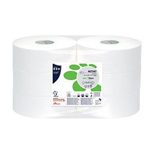 PAPERNET Rotolo di carta igienica Maxi Jumbo Superior, 2 veli, 811 fogli, Con superficie in rilievo, 95 mm, Bianco (confezione 6 rotoli)