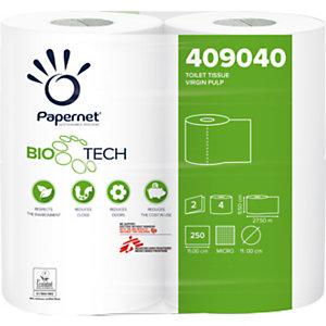 PAPERNET Rotolo di carta igienica standard Superior, 2 veli, 250 fogli, Con superficie in rilievo, 95,2 mm, Bianco (confezione 4 rotoli)