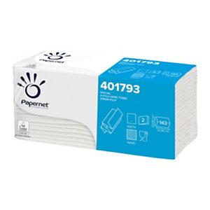 PAPERNET Special Asciugamano di carta piegato, 2 veli, 143 pezzi, Superficie goffrata, Piega a Z, 230 mm, Bianco
