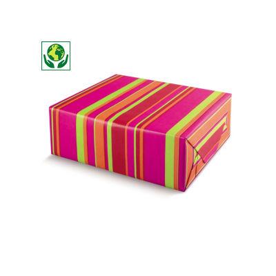 Papier cadeau kraft avec motif rayures